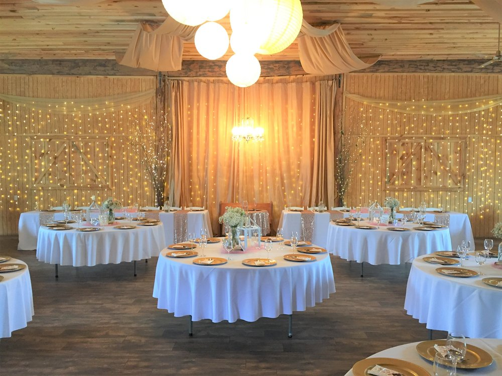 Inside our 3,500 sqft. event center, capable of seating 200 guests.