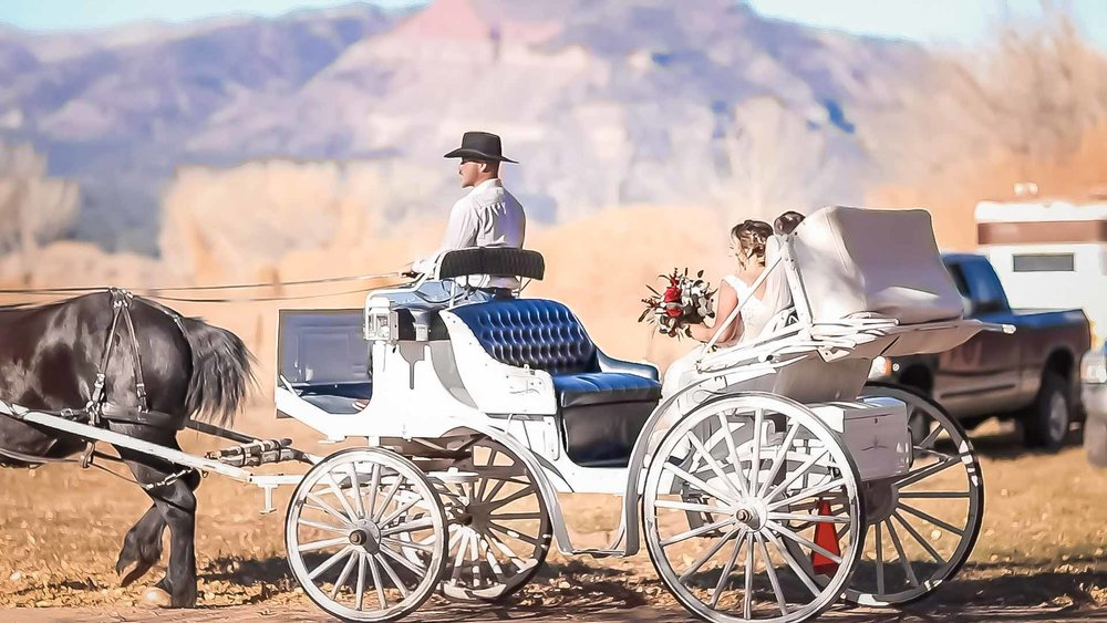 A carriage will get her to the church on time.