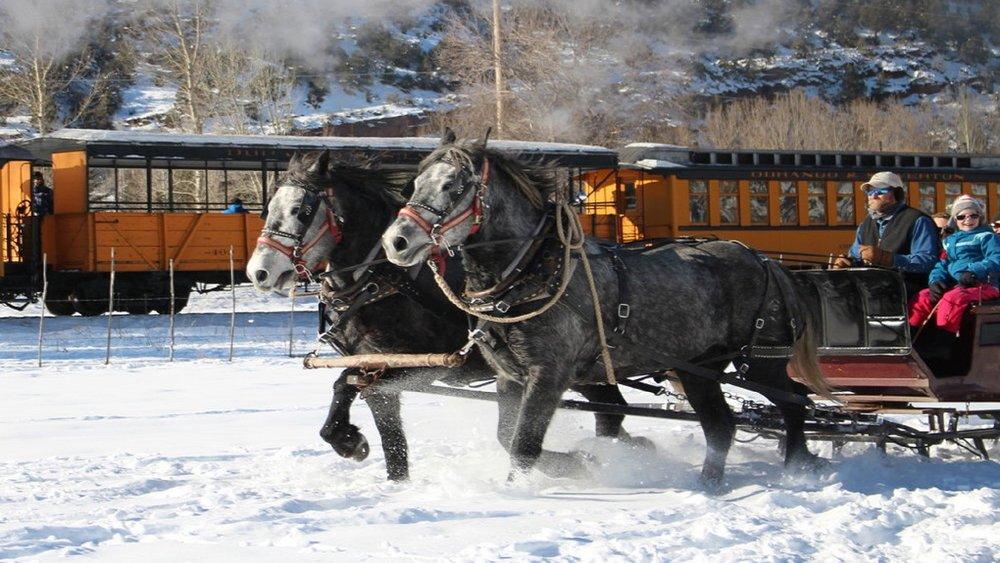 Sleigh ride racing the train.