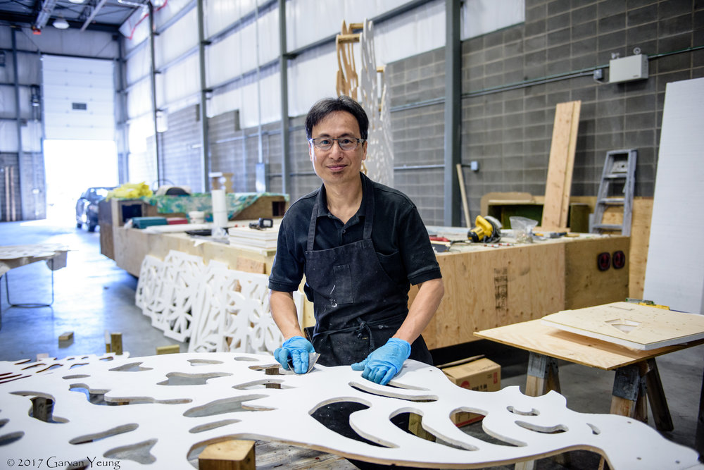 Barry Xu   Barry Bing Yu Xu was born in Guangzhou, China and has always aspired to be an artist. He studied fine arts in school and became a teacher in that discipline at the Second Pedagogical College of Guangzhou for over 10 years. In 1991, he had the opportunity to immigrate to Calgary, Canada. It was risky because he had a prospering career in China, but for the benefit of his future generations, he knew this was a chance he had to take. Starting this adventure meant giving up what he worked so hard to establish. Barry worked a variety of jobs in Calgary and finally landed a job as a school janitor with the Calgary Board of Education. It's a contrasting reality, as he still works at a school, but in such different capacities; nevertheless, Barry continues to paint. Since moving, he's been exposed to the rich history of western painting and started encompassing their techniques into his works. He started experimenting with different mediums and started working on larger pieces. He has even been asked to paint large murals for stage productions, films and TV shows. He is particularly drawn to the Albertan landscapes and have used it as a focal point for his works the past couple years.