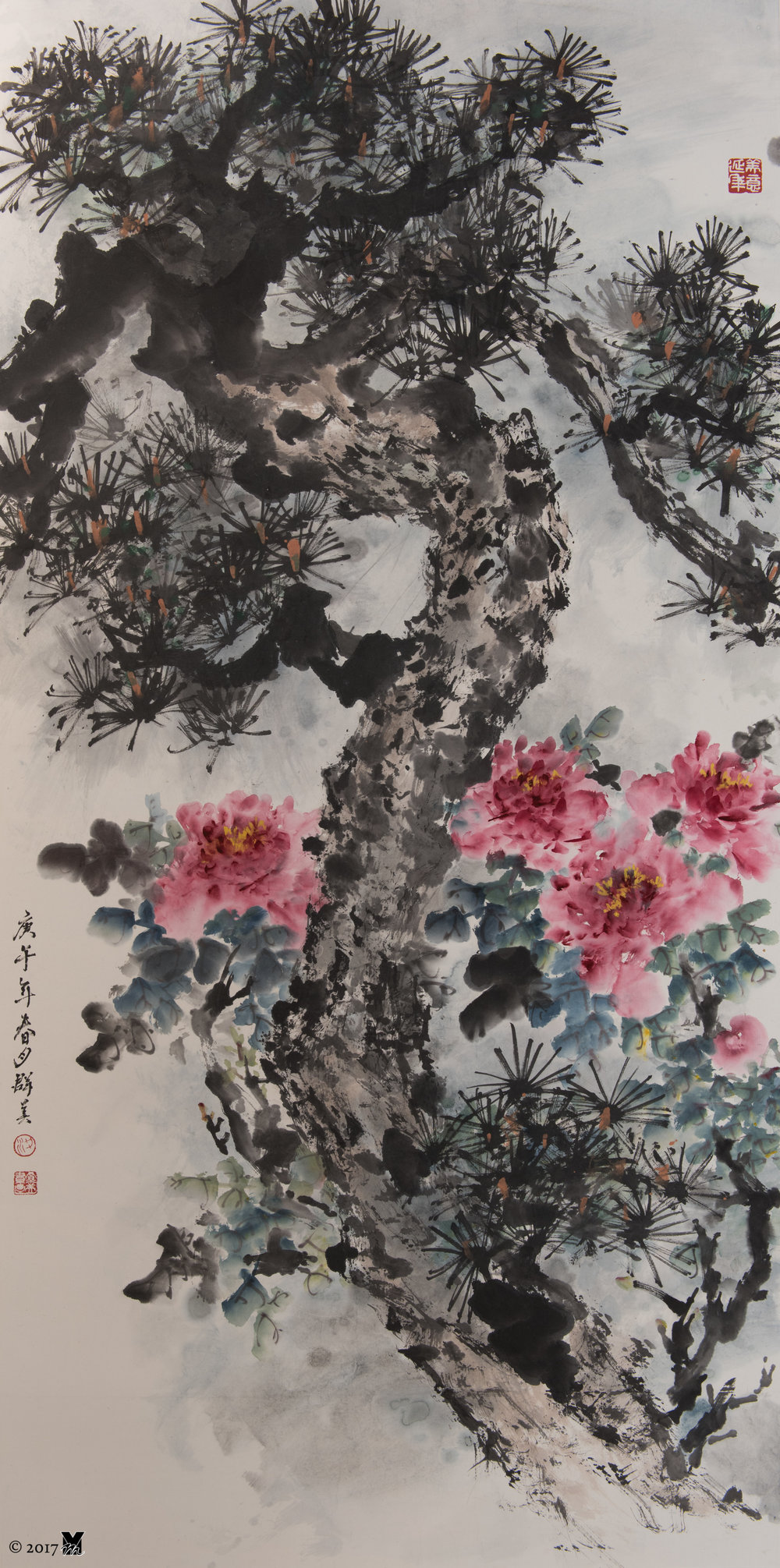 """Wealthy and Healthy Chinese Ink on Rice Paper 26""""x54"""" 1988"""