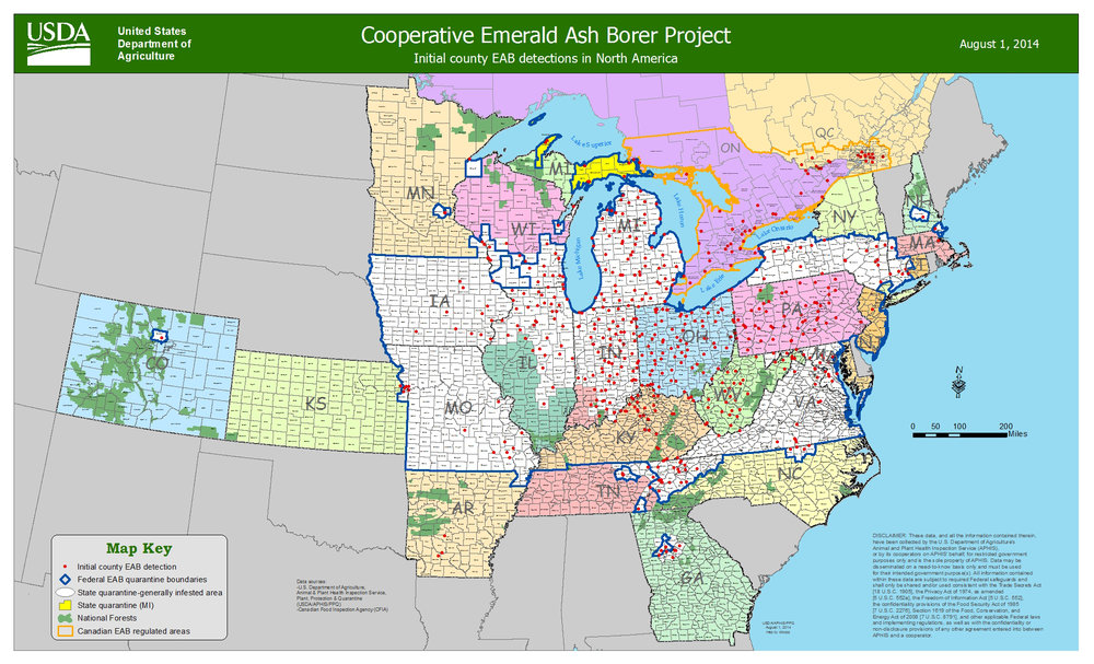 Emerald Ash Borer detections, as of August 1, 2014 (USDA/APHIS)