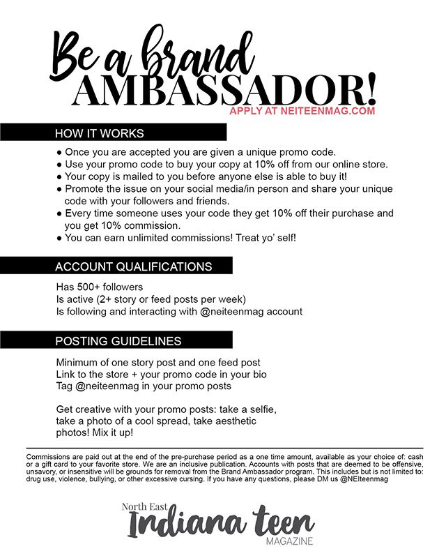 Want to be a part of the NEI Teen Mag fam? You can be a brand ambassador! Apply at NEIteenmag.com 💕