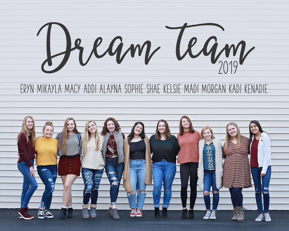High school girls from HNHS, Norwell, Central Noble stand in front of the Feather and Key Studio in Huntington.