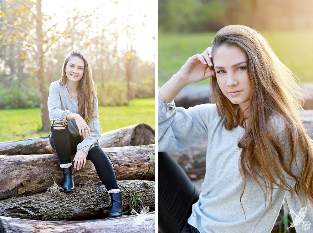 Senior girl in natural environment for senior photos with feather and key photography.