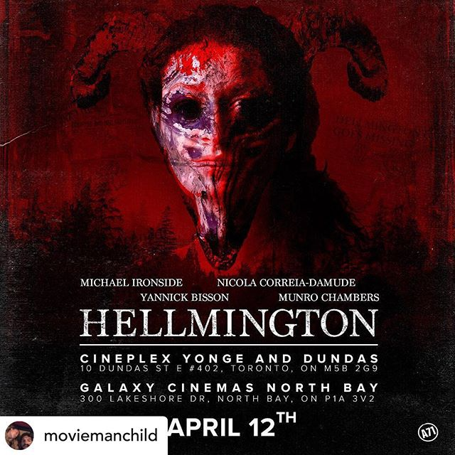 HELLMINGTON will officially be showing in CINEPLEX THEATRES this April 12th @ YONGE & DUNDAS + NORTH BAY Cineplex Theatres! Thank you to everyone who has put their time and passion into this film. We love all of you. #hellmington #blindluckpictures @mshellelouise @gundancedem @michaelcaterinadop @karlyismadill @moviemanchild @nicolasummer @_adammacdonald @munrochambrs @angelicastirpe