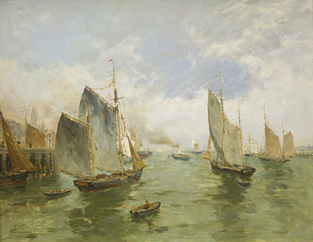 Depart de Bateaux de Peche, Ostende, Paul Hermanus, 1903, oil on canvas.