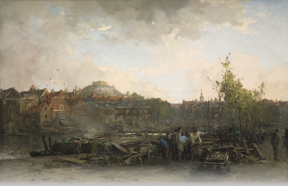 Town Scene with Figures, Jan Hendrik Verheyen, late 18th – early 19th century, oil on canvas.