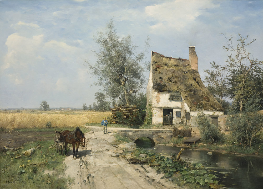 Summer Landscape with Figures by a Farmhouse, Karl Schultze, 1882, oil on canvas.