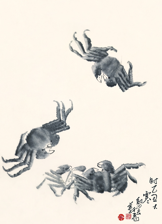 潑墨螃蟹Splashed-Ink Crabs, H.H. Dorje Chang Buddha III, ink on paper.