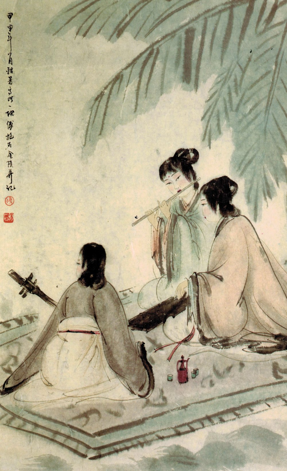 調樂圖Three Musicians, 傅抱石Fu Baoshi, 1940, ink on paper.
