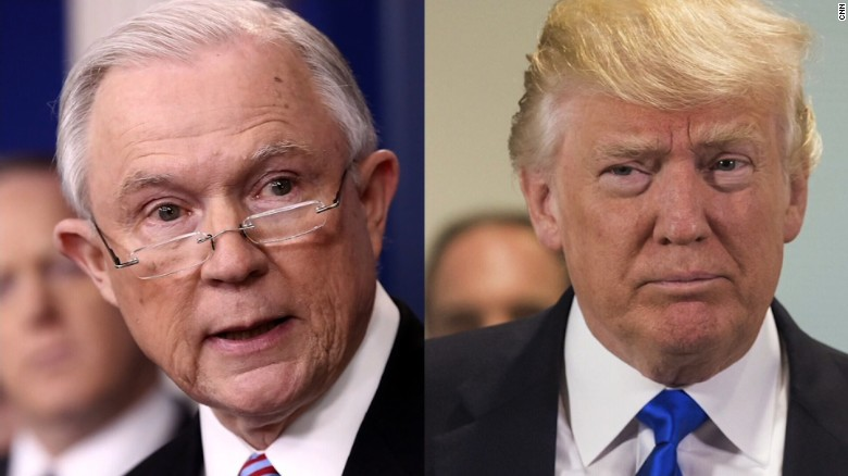 Pictured are Sessions and Trump.  Photo via CNN