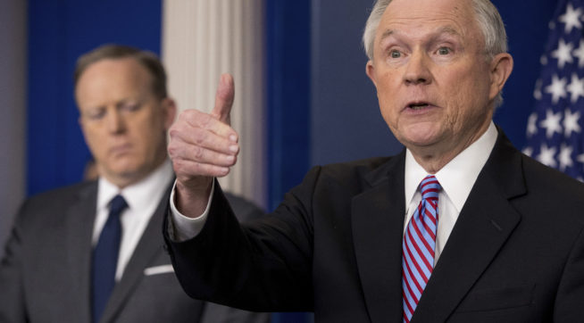 Sessions and Spicer, photo via  Talking Points Memo