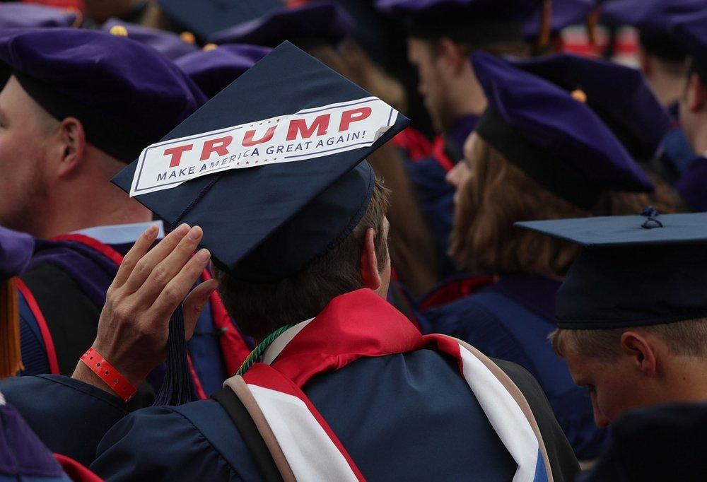 Trump decorated graduation cap, photo via  Washington Post