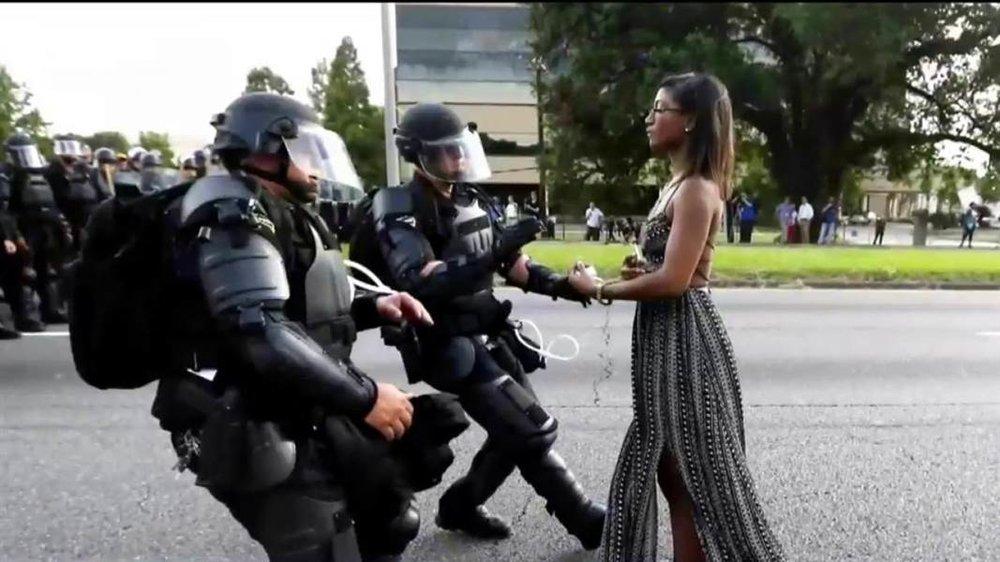 police handling a nonviolent Black lives Matter protestor