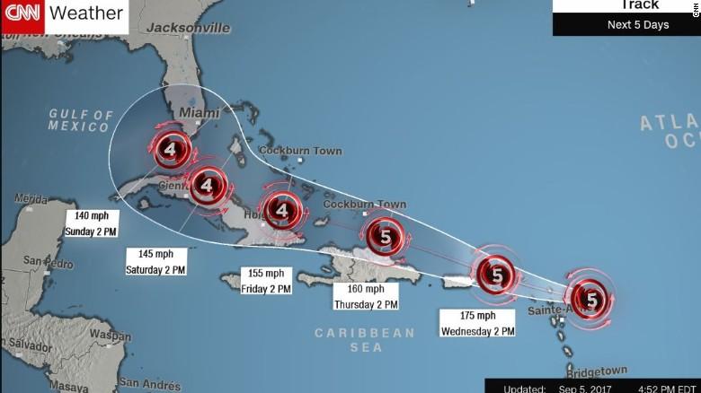 Expected timeline of Irma. Via  CNN.