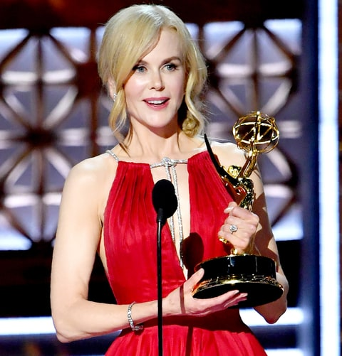 Kidman accepting her Emmy, photo via  US Weekly