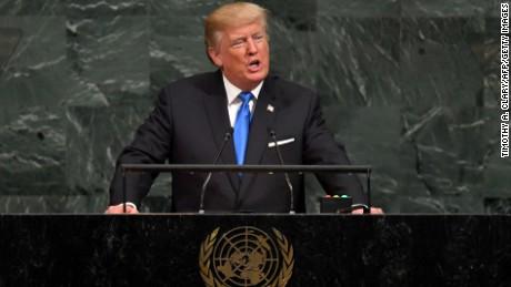 Trump during his speech today, photo via  CNN