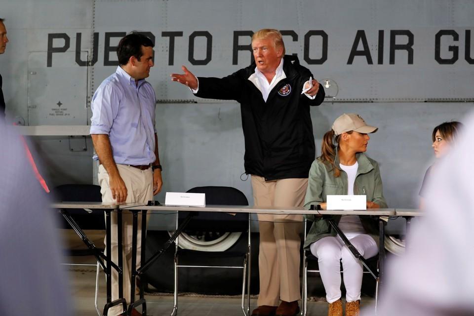 Trump in Puerto Rico, photo via  Reuters
