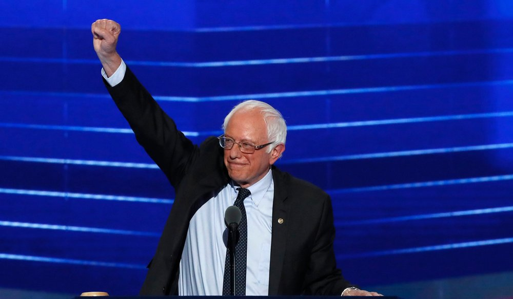 Bernie Sanders at the Democratic National Convention, photo via  YouTube