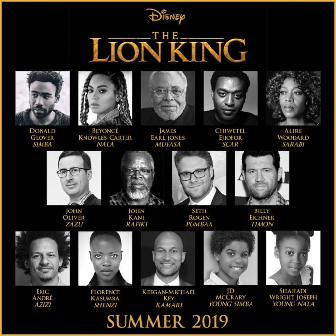 Lion King cast, photo via  Disney