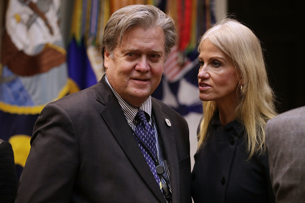 Bannon and White House spokeswoman Kellyane Conway, photo via  Getty Images