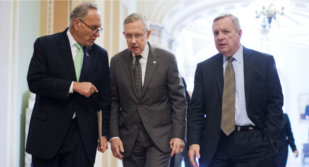 Sen. Dick Diburn (far right), pictured with Chuck Schumer and Harry Reid, photo via  New York Times