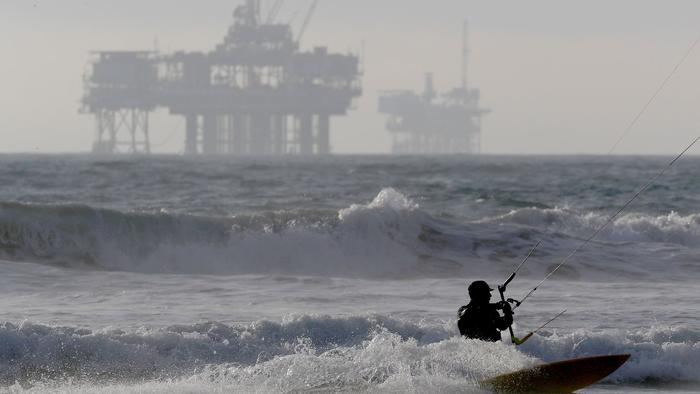 offshore drilling as seen in Los Angeles, photo via  LA Times