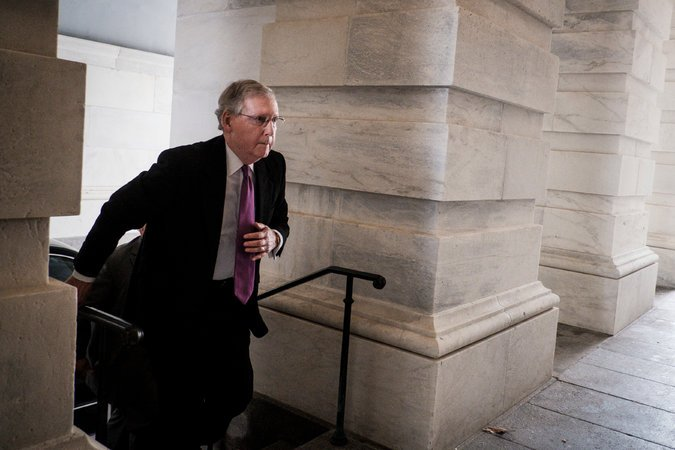 Senate Majority Leader Mitch McConnell on Capitol Hill Monday, photo via  New York Tiems
