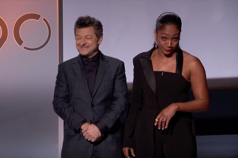 Tiffany Haddish and Andy Serkis announcing the nominations, photo via  ABC