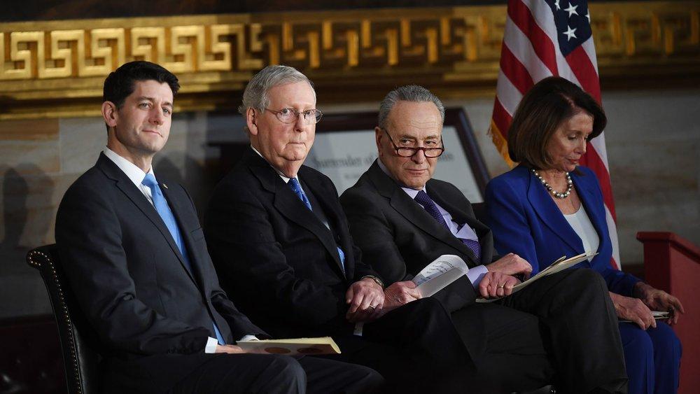 House Majority Leader Paul Ryan (R-WI), Senate Majority Leader Mitch McConnell (R-KY), Senate Minority Leader Chuck Schumer (D-NY), and House Minority Leader Nancy Pelosi (D-CA), photo via  Axios/Getty Images