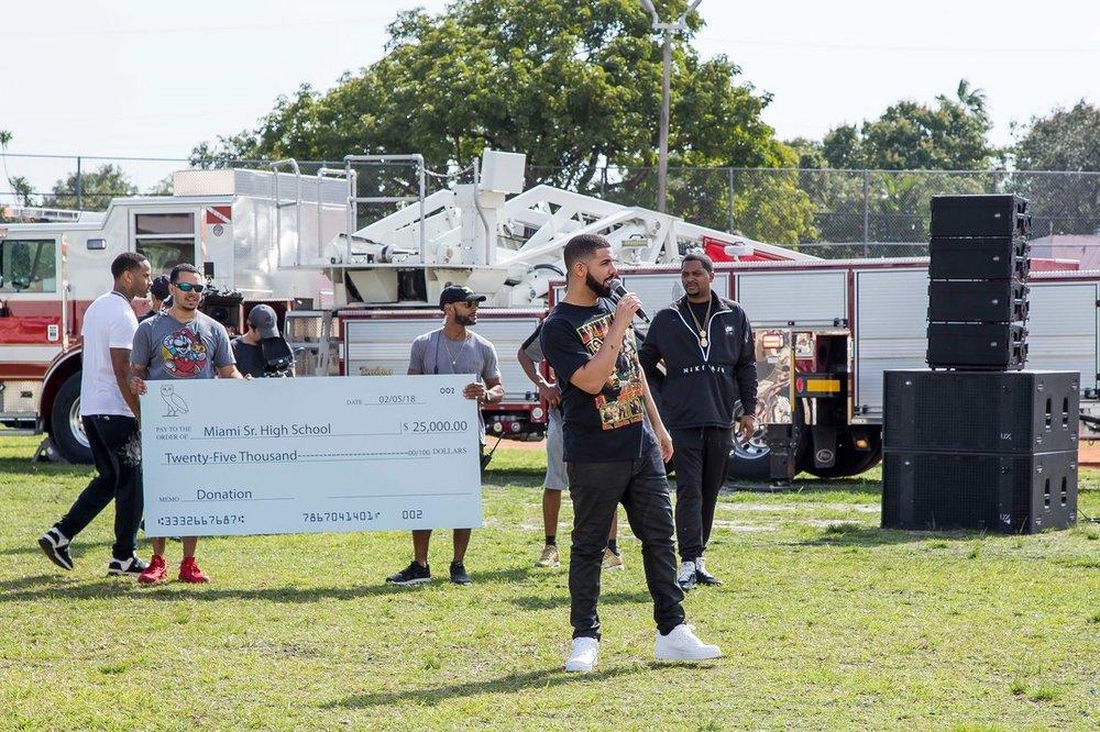Drake speaking at Miami Senior High School, photo via  Miami Dade County Schools