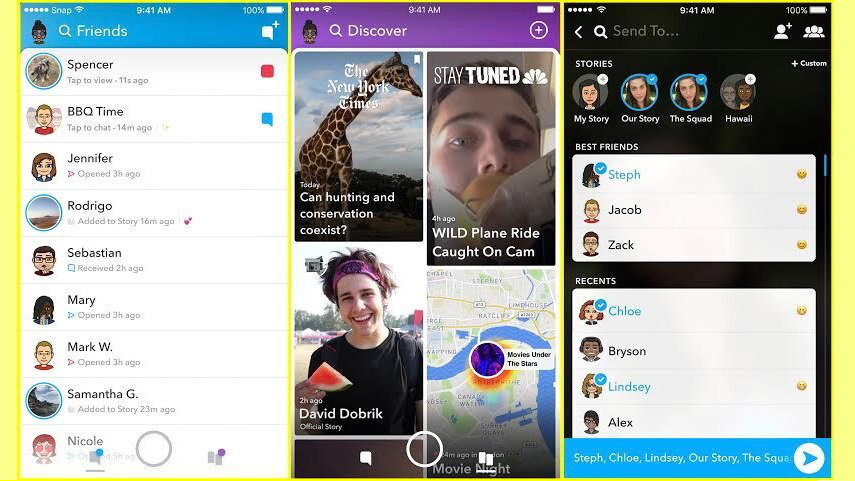 The new Snapchat layout, photo via  Snapchat