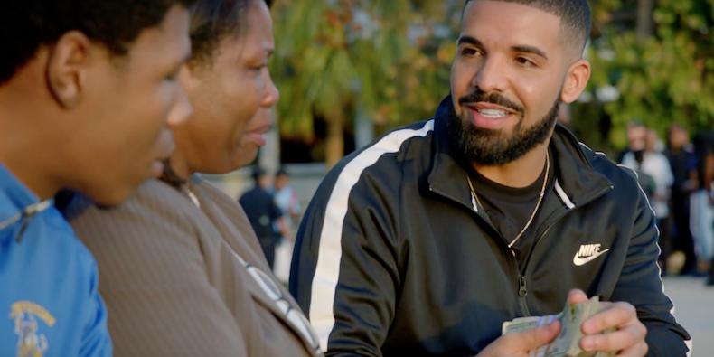 "Drake in the ""God's Plan"" music video, photo via  YouTube"
