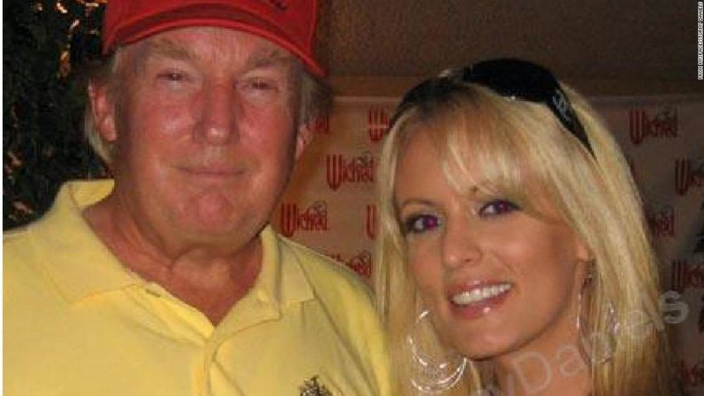 Stormy Daniels and Trump, photo via  CNN