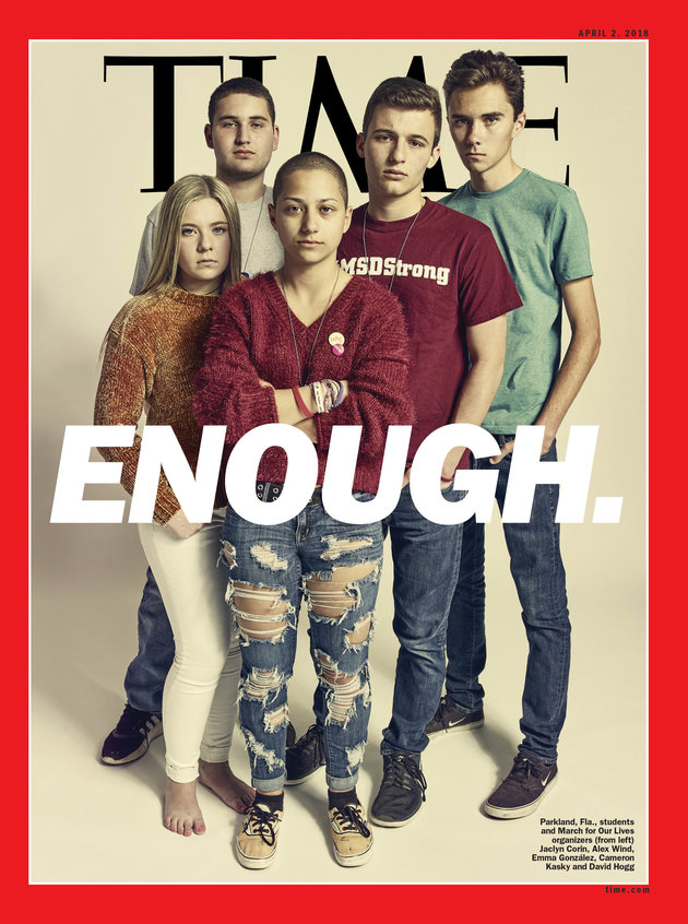 Parkland students on the cover of April's issue of Time. Photo via  The Huffington Post.