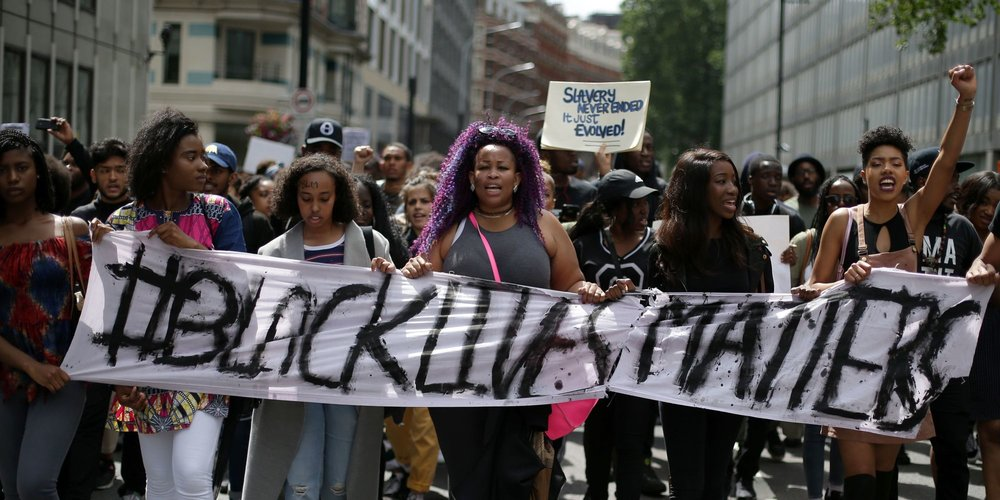 Black Lives Matter protestors. Photo via  The Houston Defender.
