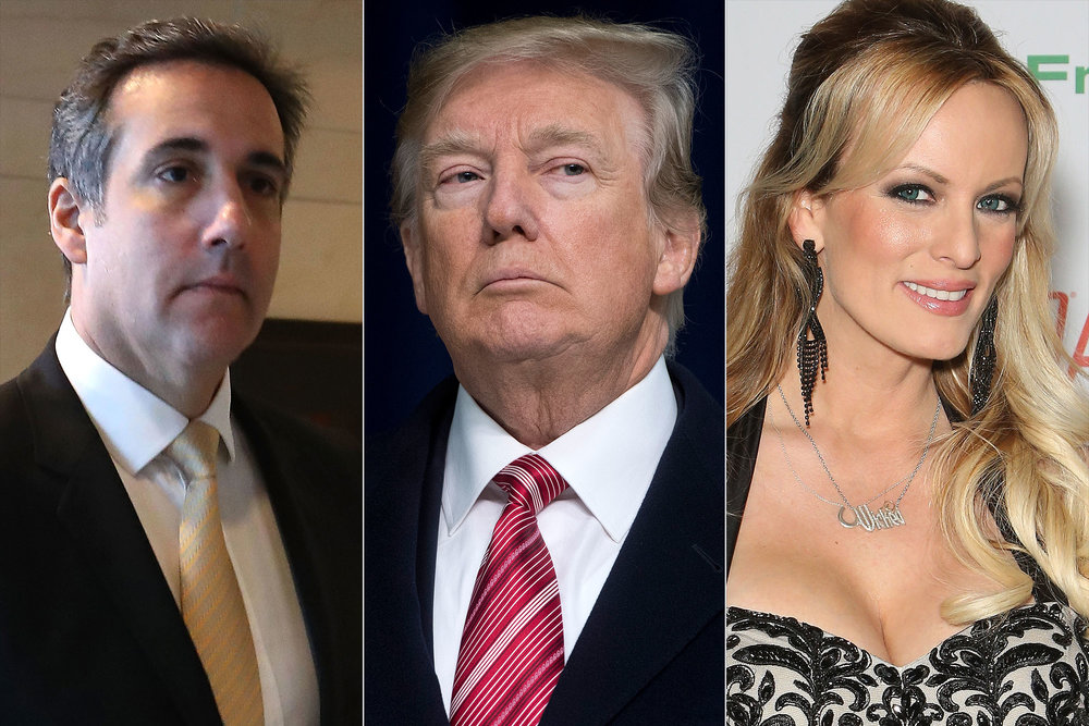 Michael Cohen, Donald Trump, and Stormy Daniels, photo via  People