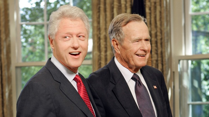 Bush and Clinton, photo via  Reuters