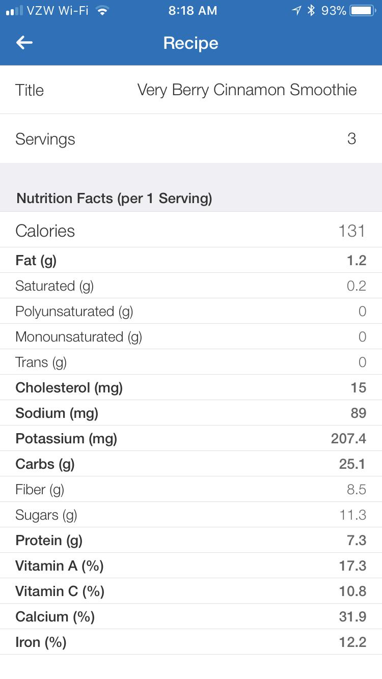 Nutritional information via MyFitnessPal