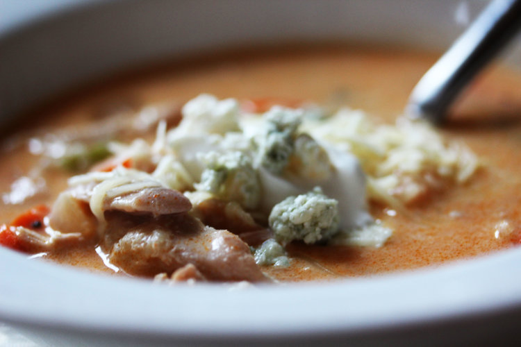 buffalo chicken soup with sour cream and blue cheese