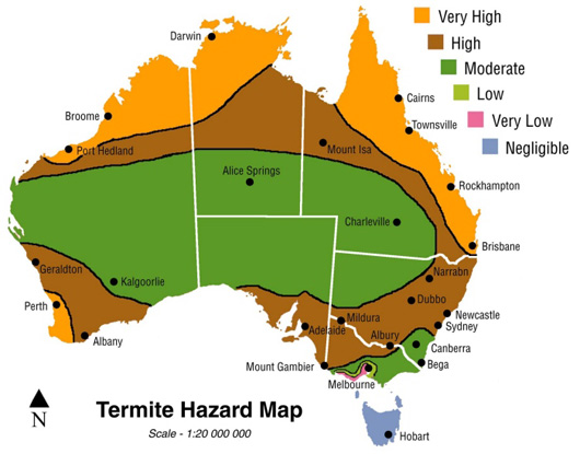 Map sourced from    T    ermite Incidence Survey and Termite Hazard Map – CSIRO & FWPDRC Research