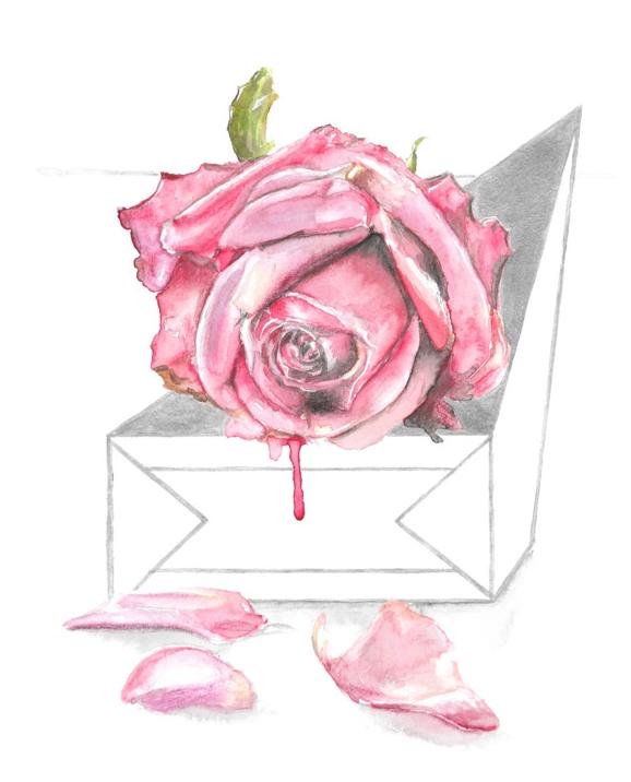 Keita Thomas - Rose Watercolour - Broken, She Rose