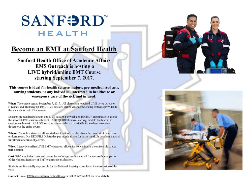 live hybrid/online emt course - sanford health — center for the ...