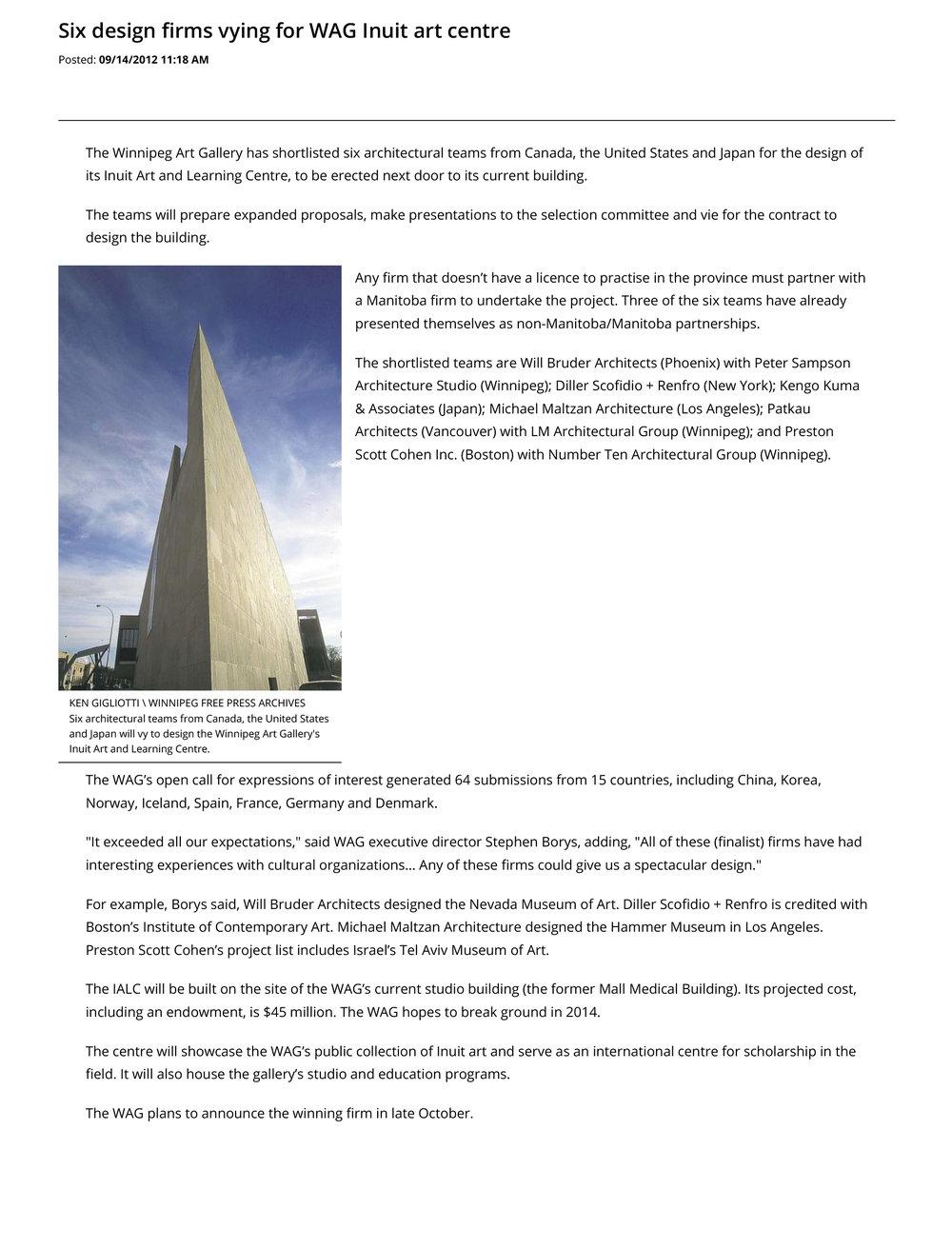 Six design firms vying for WAG Inuit art centre - Winnipeg Free Press-1.jpg