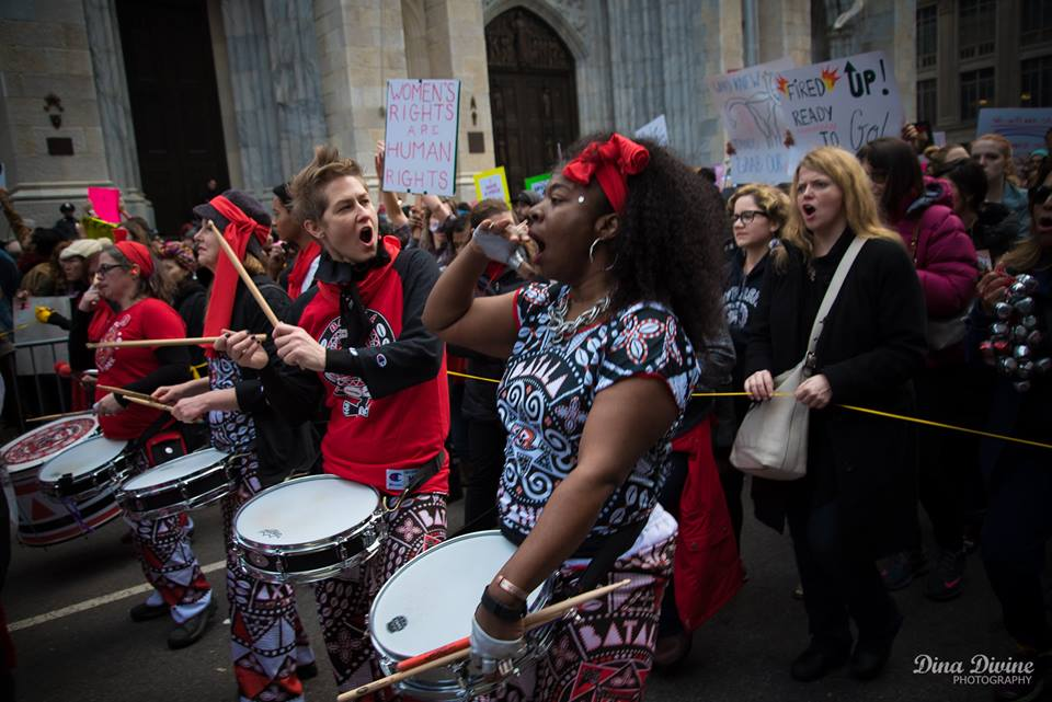Christine performing with Batala at 2017 Women's Rights March, NYC