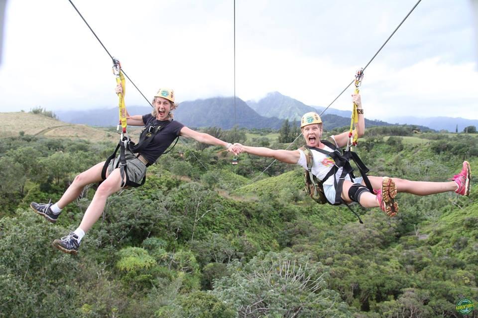 Christine ziplining with Mirador real estate agent, Cheriece, in Kauai, Hawaii