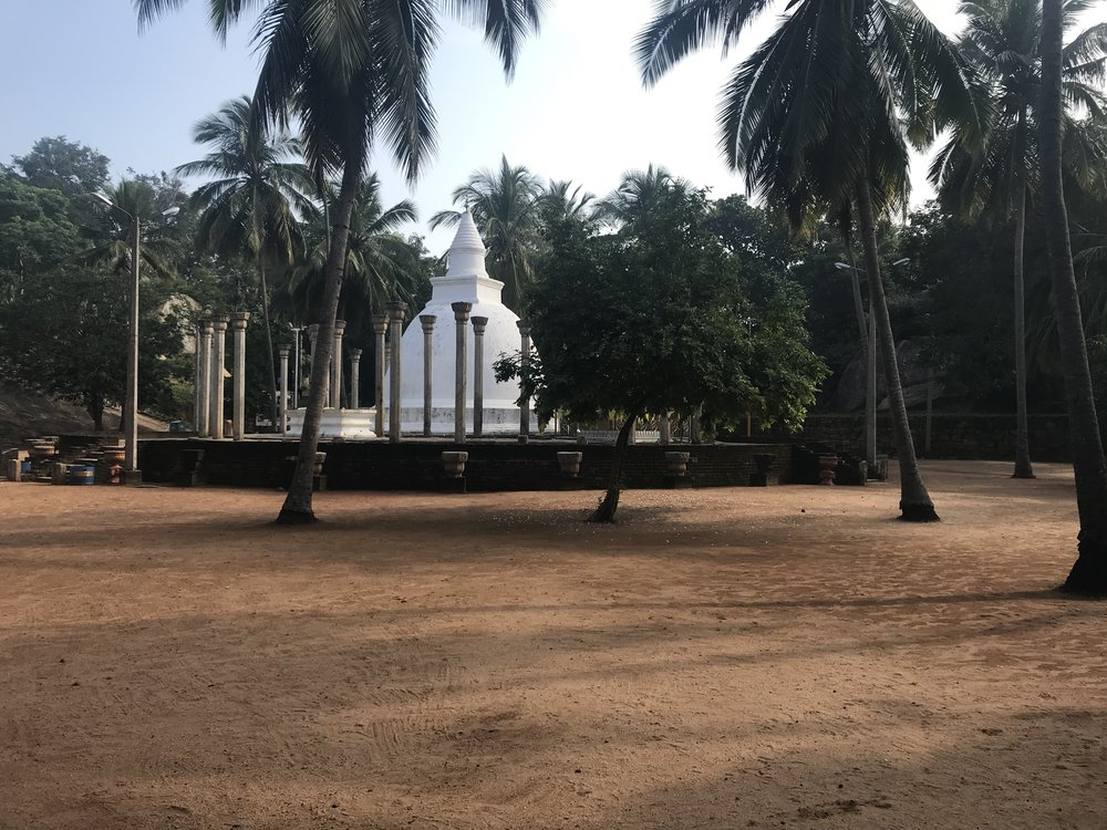 The Ambasthala Dagaba. The surrounding pillars indicate that there must have been some sort of structure surrounding/enclosing the dagaba at some point in history.