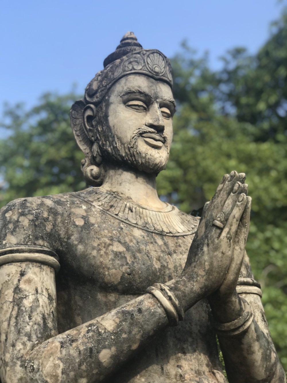 A statue of King Makalantissa outside the Ambasthala Dagaba. Taken with the iPhone's 'portrait mode.'