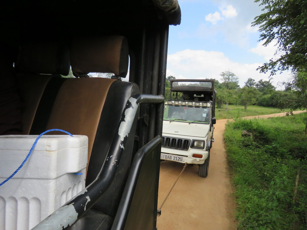 """A shot from our """"rescue vehicle"""" as we tow the broken vehicle behind us through Wasgamuwa. Photo: Wendy Kiso."""